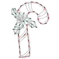18 in. Lighted Candy Cane with Holly Christmas Window Silhouette