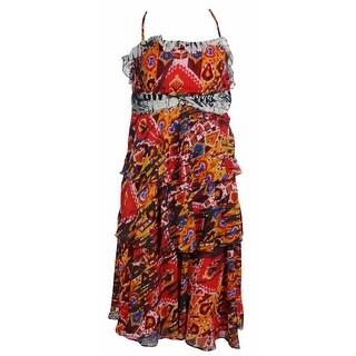 Nine West Women's Tiered Chiffon Tribal Print Dress