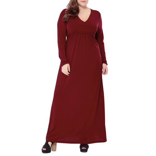 32ed305a0b66 QZUnique Women's Plus Size Solid Color Maxi Dresses V Neck Long Sleeves