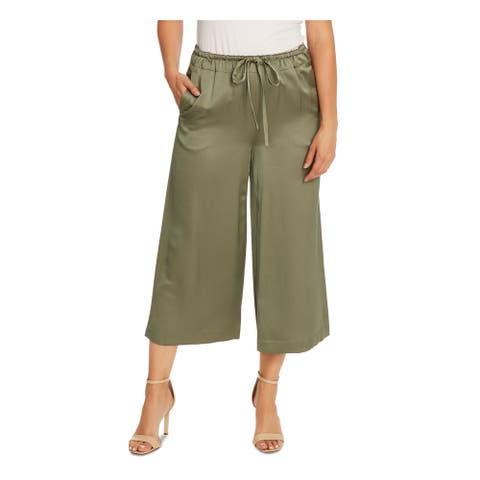 VINCE CAMUTO Womens Green Solid Wide Leg Pants Size L