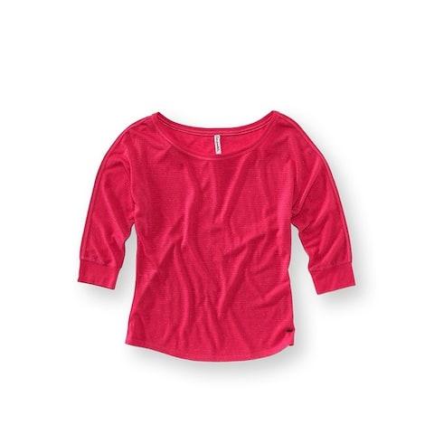 Aeropostale Womens Metallic 3/4 Sleeve Graphic T-Shirt
