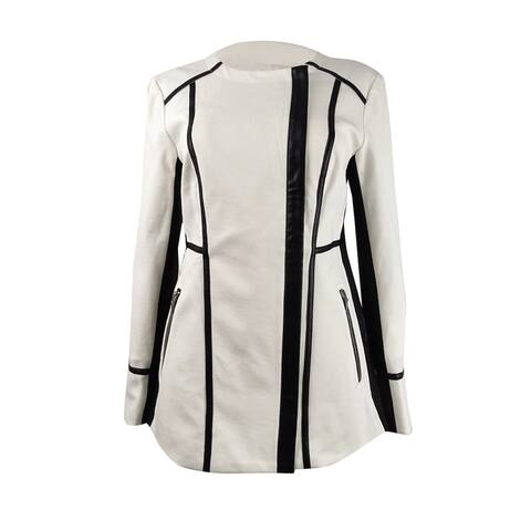 INC International Concepts Women's Faux-Leather-Trim Moto Jacket - White
