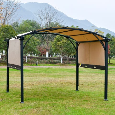 Outsunny 11ft x 8ft Outdoor Retractable Canopy Pergola Steel Frame Patio Pergola Shelter Sun Shade, Beige