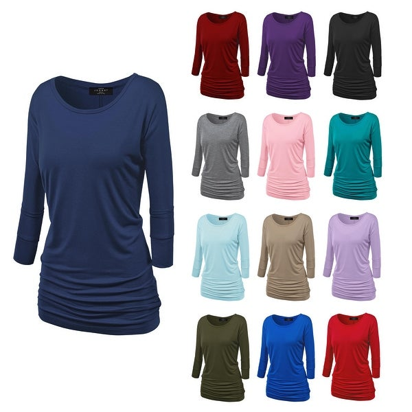Women's Crew Neck 3/4 Sleeve Drape Dolman Shirt Top with Side Shirring. Opens flyout.