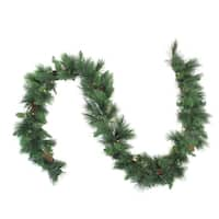 "9' x 14"" Pre-Lit White Valley Pine Artificial Christmas Garland - Clear Lights - Green"