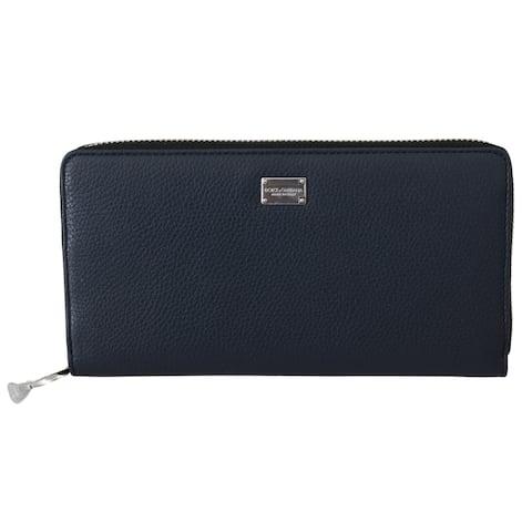 Dolce & Gabbana Blue Zip Around Mens Continental Clutch Leather Men's Wallet - one-size