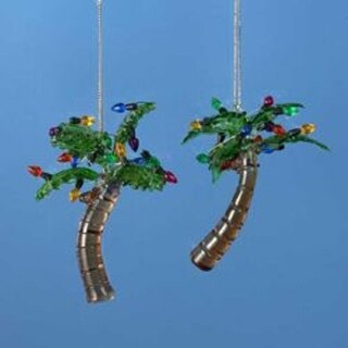 Club Pack of 12 Beach Party Glass Palm Tree Christmas Ornaments 3.5""