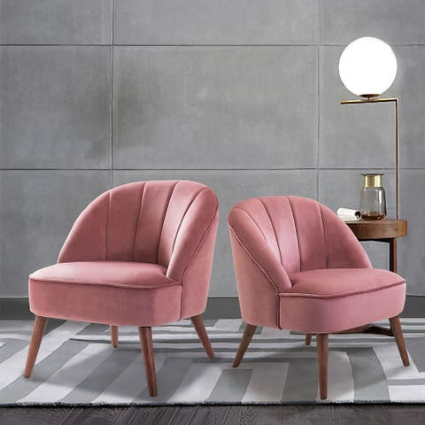 Davina Upholstered Accent Chair with Tufted Back,set of 2
