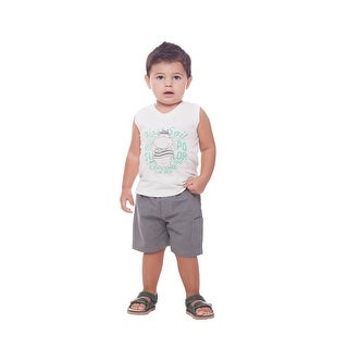 Baby Boy Outfit Graphic Tank Top V-Neck and Shorts Set Pulla Bulla 3-12 Months