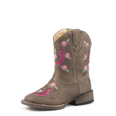 Roper Western Boots Girls Lucky Horseshoe Brown