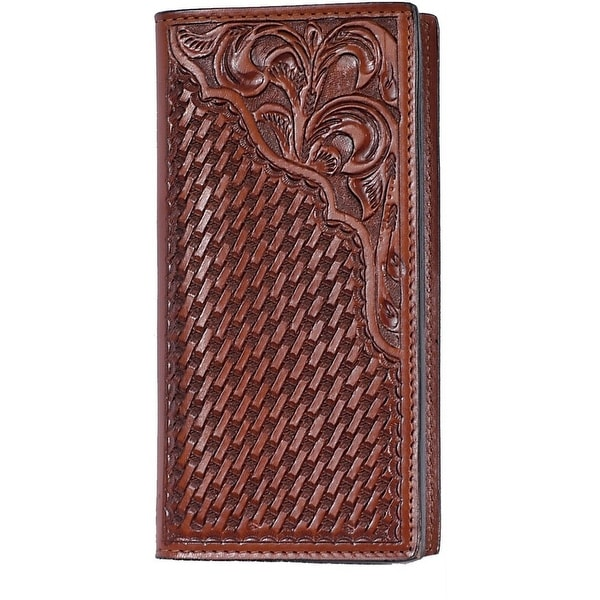 3D Western Wallet Mens Leather Rodeo Checkbook Weave Tan - One size