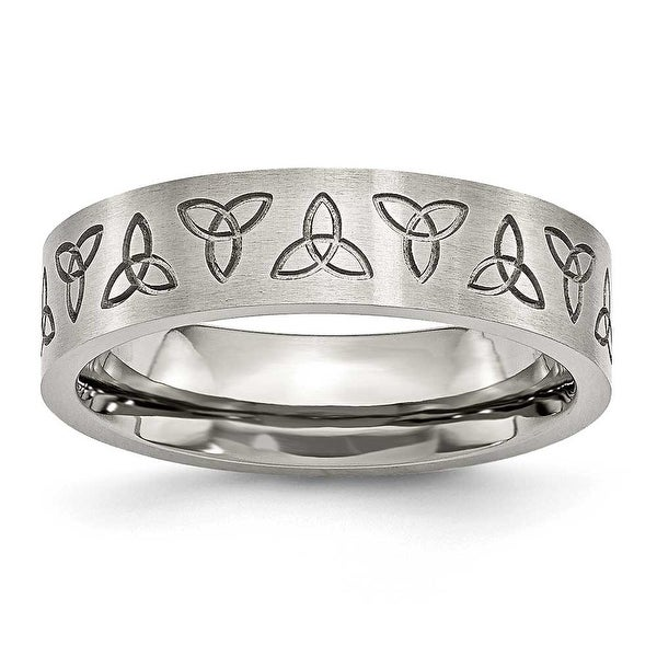 Chisel Stainless Steel Engraved Trinity Symbol Satin 6mm Band