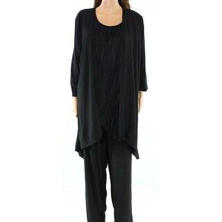 Antthony NEW Black Womens Size 2X Petite Plus 3-Piece Crinkle Pant Sets