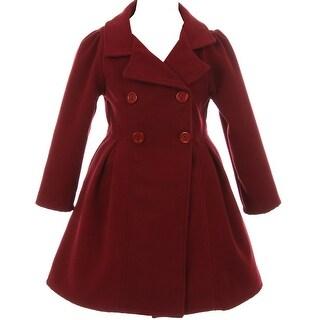 Flower Girls Winter Clothes Long Coat Outerwear Burgundy