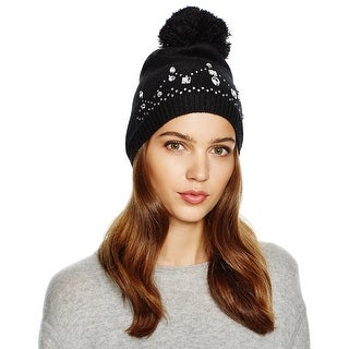 Aqua Ladies Black Embellished Beanie With Pom Pom One Size
