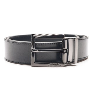 Versace Collection Men's Adjustable Stainless Steel Buckle Leather Belt Black - XL