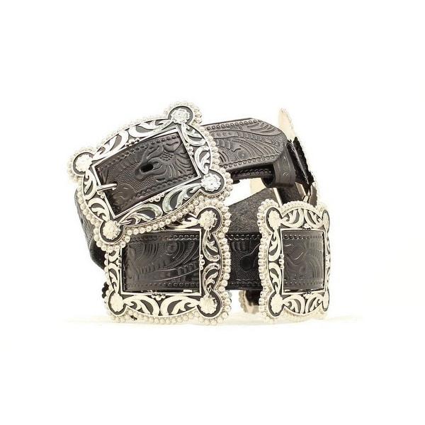 Nocona Western Belt Womens Concho Black Antique Silver