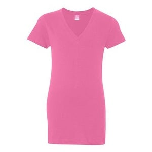 Junior Fit V-Neck Fine Jersey Tee - Raspberry - M