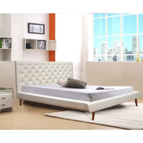 Mid Century Modern Addyson Beige Queen Platform Bed