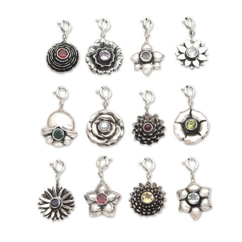 NOVICA Birthday Flowers, Birthstone flower bracelet charms