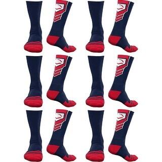 EvoShield Performance Crew Socks Navy w/ Red & White Large (6 pack)