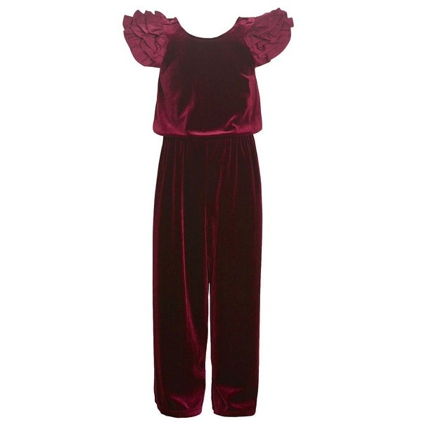 d1e70009c4be8 Shop Bonnie Jean Little Girls Burgundy Multi Layered Ruffle Sleeved  Jumpsuit - Free Shipping On Orders Over $45 - Overstock - 25542600