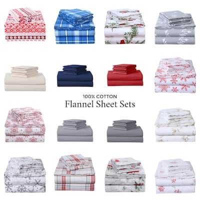 EnvioHome Heavyweight Cotton Flannel Bed Sheet Set & Pillow Cases