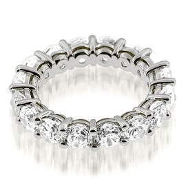 3.50 cttw. 14K White Gold Classic Basket Round Cut Diamond Eternity Band Ring