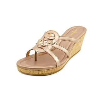 Cole Haan Shayla Thong Women Open Toe Patent Leather Bronze Wedge Sandal