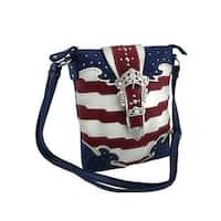 American Flag Rhinestone Buckle Concealed Carry Crossbody Purse