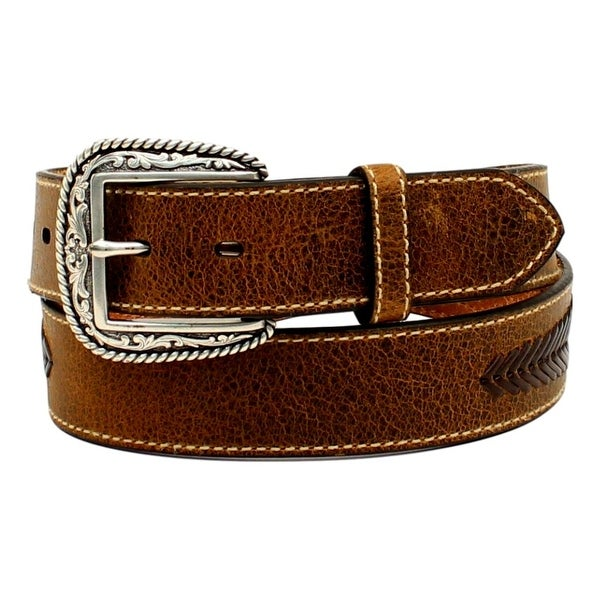 Ariat Western Belt Mens Leather Lacing Overlay Concho Brown