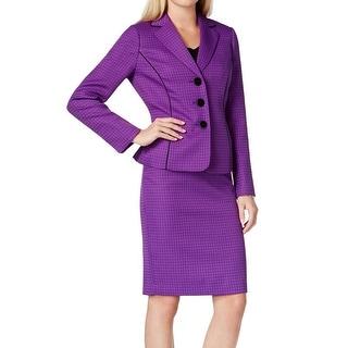 Le Suit NEW Purple Black Women's Size 4 Pipe-Trim Skirt Suit Set