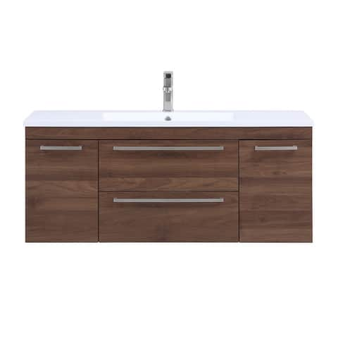 Stufurhome Riley 48 inch Wall Mounted Single Sink Bathroom Vanity, No Mirror