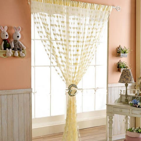 Door Window Heart Pattern Tassel Panel Divider Decoration String Curtain