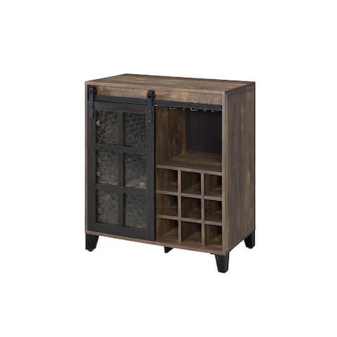 ACME Treju Wine Cabinet in Obscure Glass Rustic Oak and Black Finish