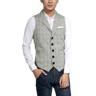 Unique Bargains Men Notched Lapel Single Breasted Plaids Vest - gray