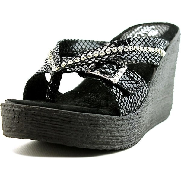 Sbicca Horizon Snake Women Open Toe Leather Wedge Sandal