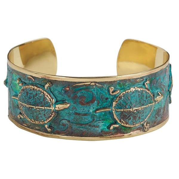 "Women's Box Turtle Cuff Bracelet - Green Verdigris Patina - Metal - 1"" Wide - turquoise"