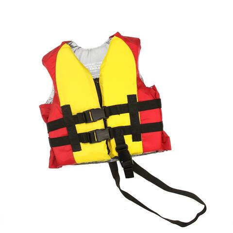 """25"""" Red and Yellow Swimming Pool Child Life Jacket Vest for Boys"""