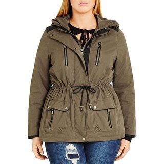 City Chic Womens Plus Parka Hooded Faux Leather Trim