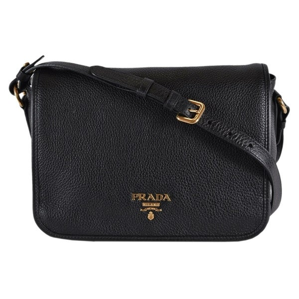 dd1a8910aa Shop Prada 1BD094 Black Leather Vitello Phenix Flap Crossbody Purse ...