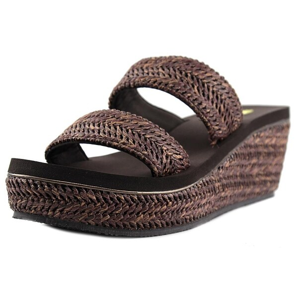 Volatile Janice Women Open Toe Canvas Brown Wedge Sandal