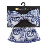Men's Blue Paisley Banded Adjustable Bow Tie & Matching Pocket Round Set - One size