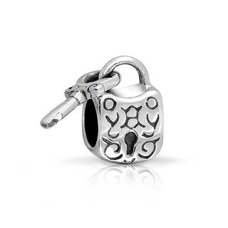 Bling Jewelry Dangling Padlock Key Charm Bead .925 Sterling Silver