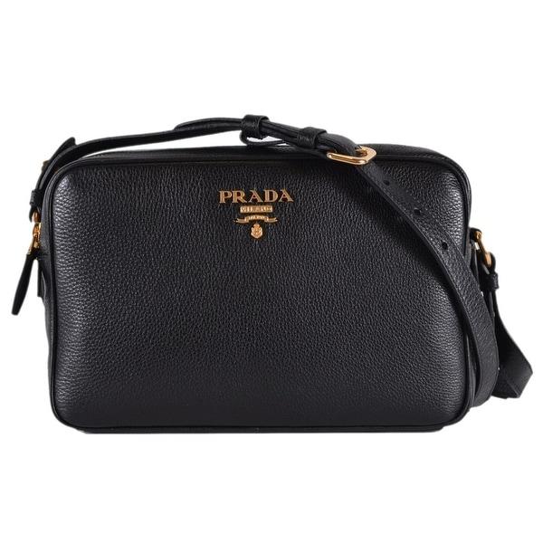 c65a12e9d3 Prada 1BH079 Black Vitello Phenix Leather Bandoliera Double Zip Purse Bag
