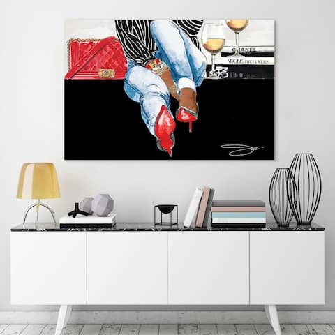 """""""Coffee Break Time"""" Frameless Free Floating Tempered Glass Fashion Panel Graphic Wall Art 32 in. x 48 in."""