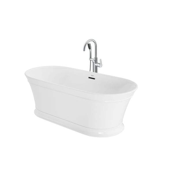 "Jacuzzi LD6731BCXXXX Lyndsay 67"" Free Standing Acrylic Soaking Tub with NW50827 Tub Filler Faucet, Center Drain, Drain Assembly"