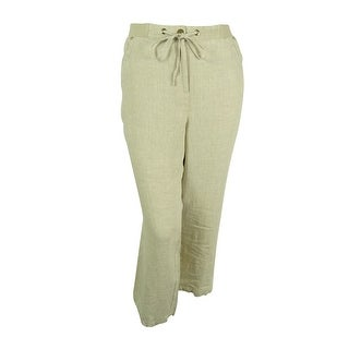 JM Collection Women's 100% Linen Drawstring Waist Pants