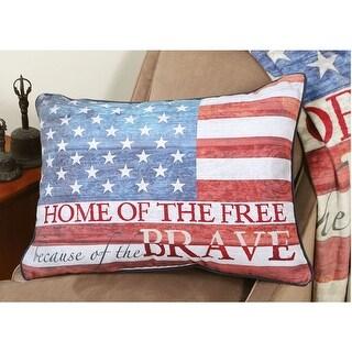 Home Of The Free American Flag Fleece Throw Pillow