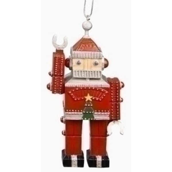 """5"""" Amusements Retro Vintage Santa Claus Robot Christmas Ornament - RED"""